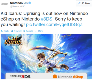 kid icarus 3ds tweet