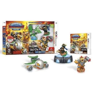 The title comes boxed in a Starter Pack containing Skylanders action figures (complete with vehicles)
