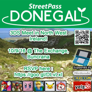 StreetPass Donegal ePoster. They are hosting a meetup at The Exchenge in Buncrana on 10th September